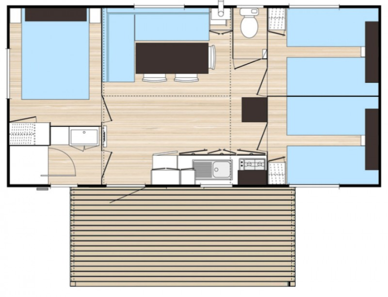Location mobil home 3 chambres 6 personnes camping merendella - Camping mobil home 4 chambres ...